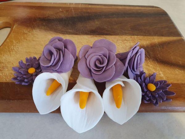Handmade purple fondant flowers Marie Makes