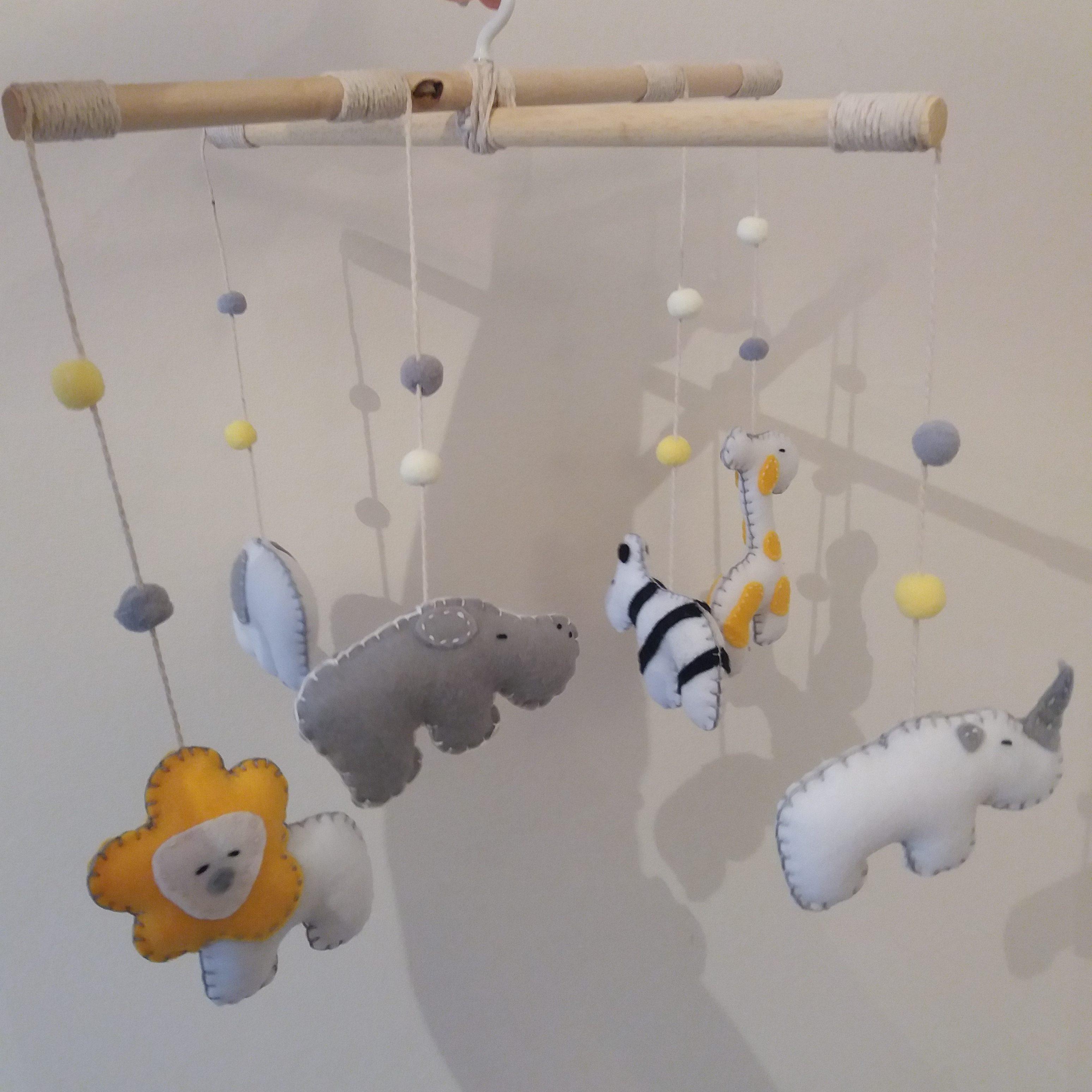 Marie Makes Milton Keynes Safari Baby Mobile Handmade from Grey and Yellow Felt
