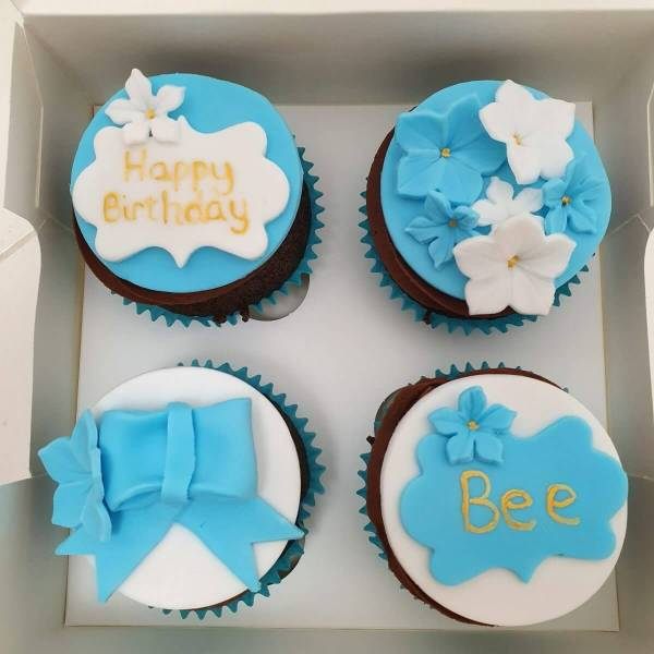 Blue Birthday Cupcakes Delivered Milton Keynes