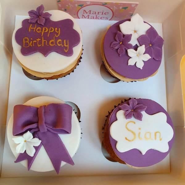 Purple Birthday Cupcakes Delivered Milton Keynes