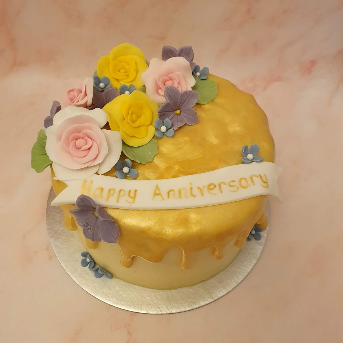Gold Drip Floral Anniversary Cake Delivered Milton Keynes