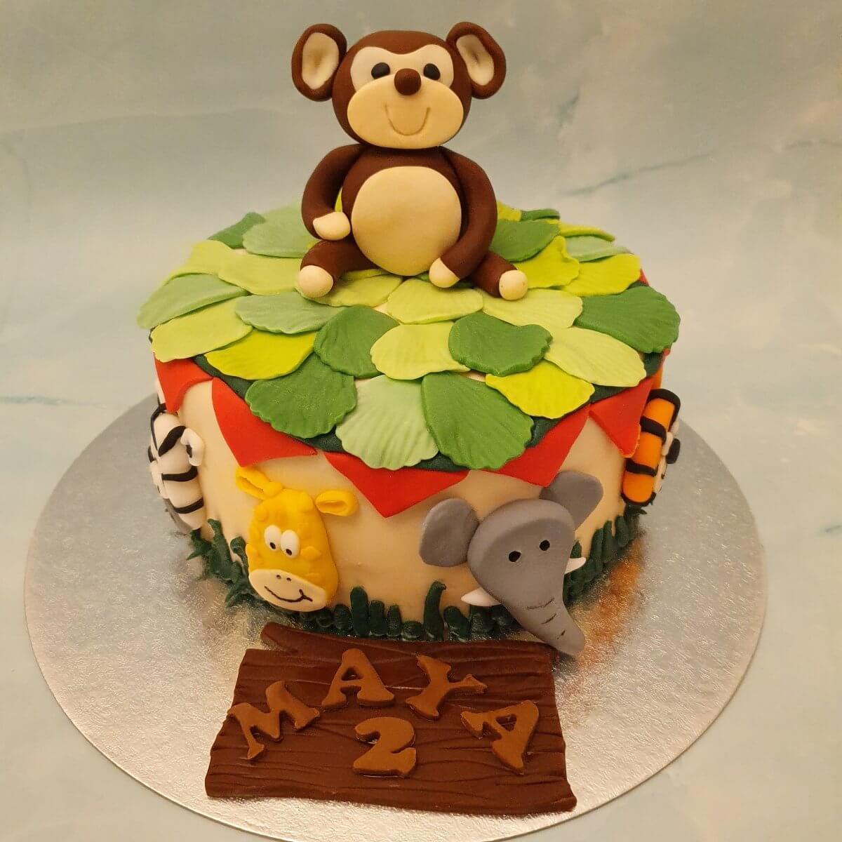 Jungle Animal Children's Birthday Cake Delivered Milton Keynes