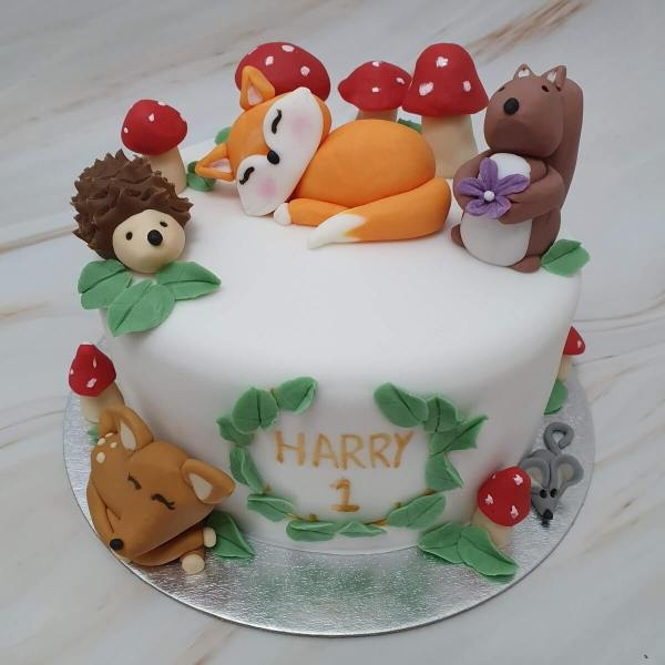 Woodland animals children's birthday cake delivered Milton Keynes