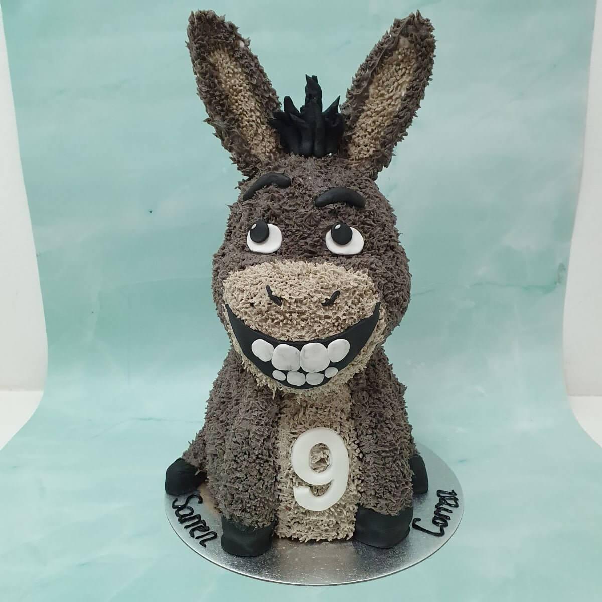 Shrek Donkey 3D Shaped Children's Birthday Cake Delivered Milton Keynes