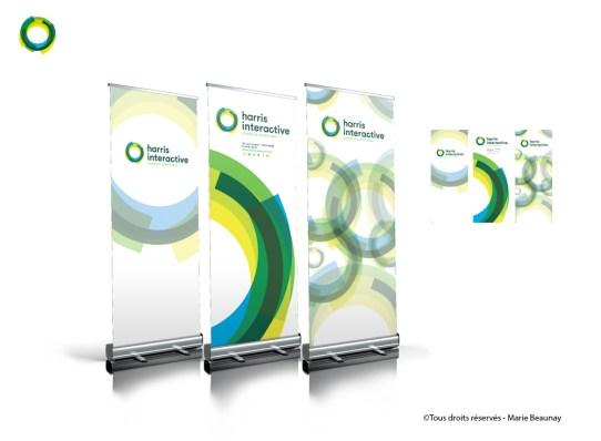Différents modèles de kakemonos en lien avec la charte graphique de l'entreprise