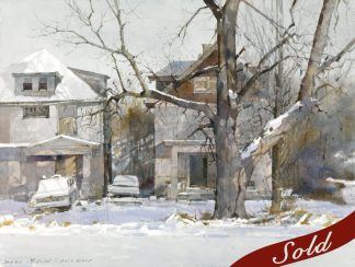 Dean Mitchell, Winter on Gillham Road, Watercolor