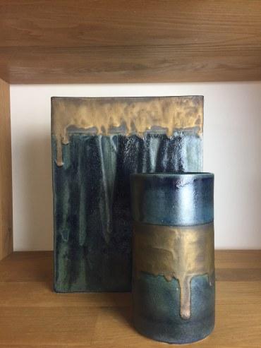 vases rectangle et tube, collection encre bleue, mariecarolinelemansceramique