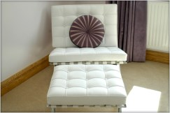 Barcelona chair and foot stool in white leather at Marie Charnley Interiors