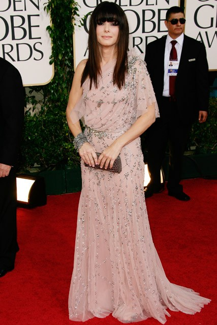 Sandra Bullock - Everyone's wearing pink - Pink ladies, blush, fuchsia, neon, bright, colour, fashion, trend, style, celebrity, Marie Claire