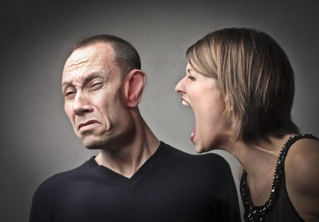 image of woman yelling forcefully at a man's turned away face on mariedeveaux.com