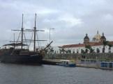 Cartagena - old ship and Torre del Reloj
