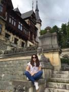 Posing in front of Peleș Castle