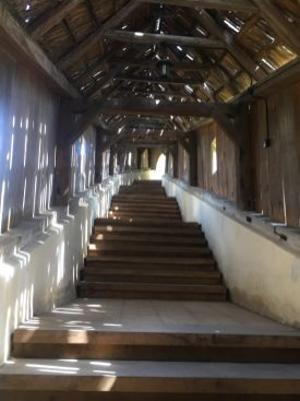 Wooden roof over the stairs