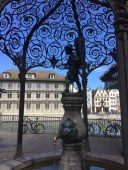 Beautiful fountain in Zurich by the Limmat river