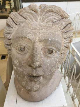 A sculpted face at the Jordan Archaeological Museum