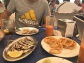 Sardines, fried calamari and gazpacho