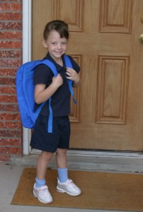 first day of school, student, backpack, porch