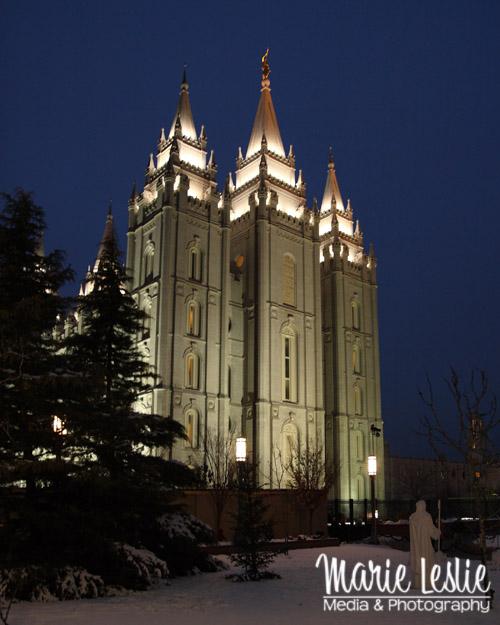 SLC Temple Winter Night