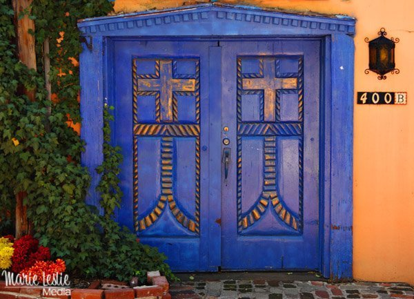 blue doors, old town Albuquerque
