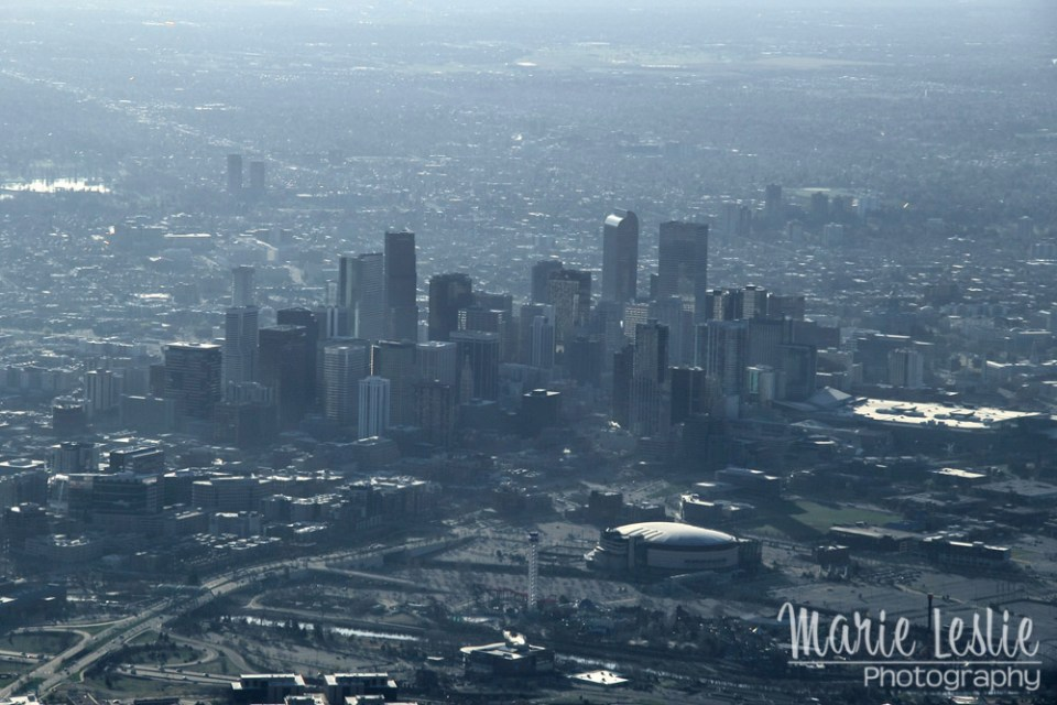 aerial photography downtown denver