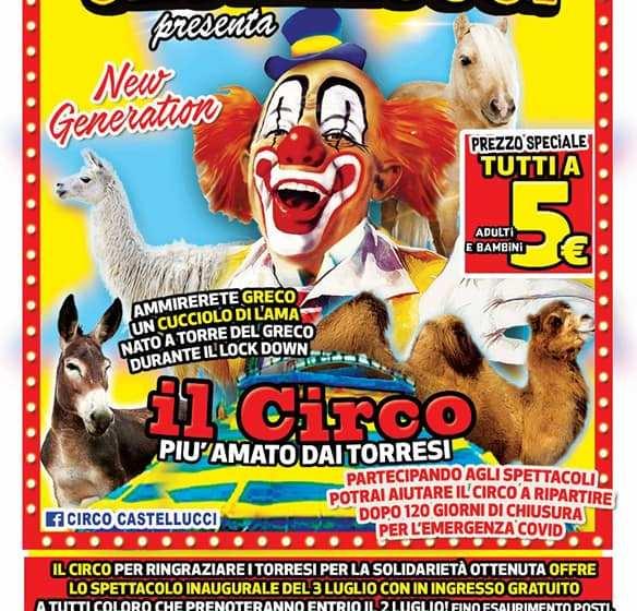 Riapre il circo Castellucci: spettacolo gratuito per ringraziare chi ha aiutato i circensi