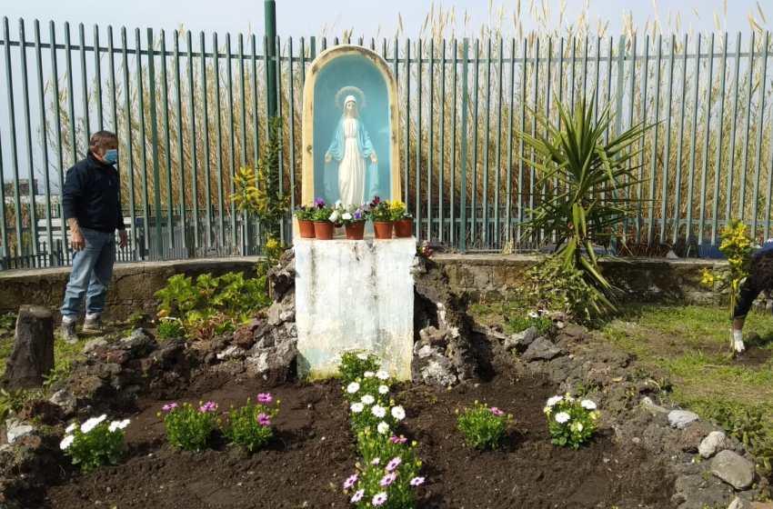Otto marzo, fiori e mimose per la statua della Madonna buttata sui rifiuti