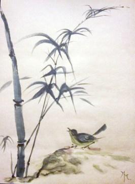 Bambou et oiseau © 2016 Marielle Marenati - Tous droits réservés.