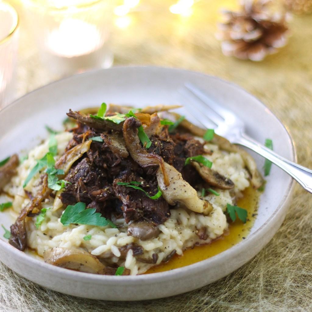Risotto met stoofvlees en gebakken oesterzwammen