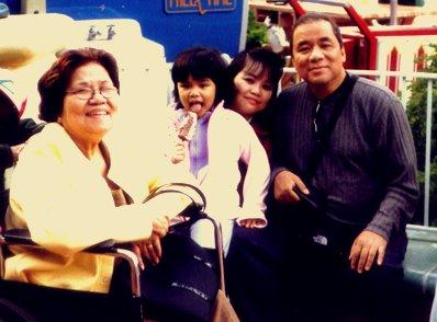Mama with Mariel and us at Disneyland