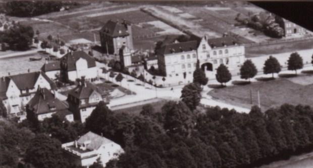1935 RVR-Luftfoto Marienstraße 209-26 Teppich Schürholz 1 Ausschnitt Feuerwehr-1600