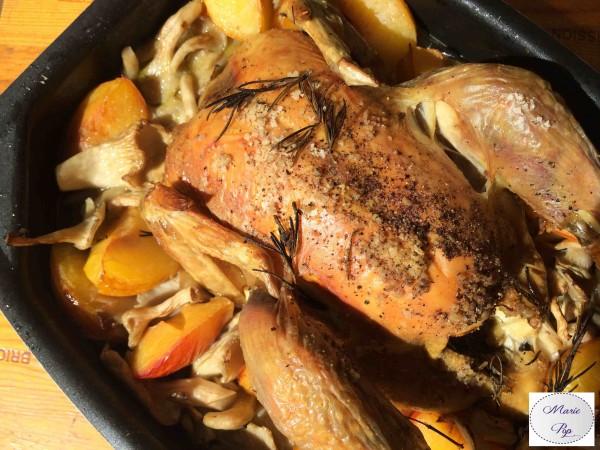 Poulet aux pleurotes et prunes - la recette