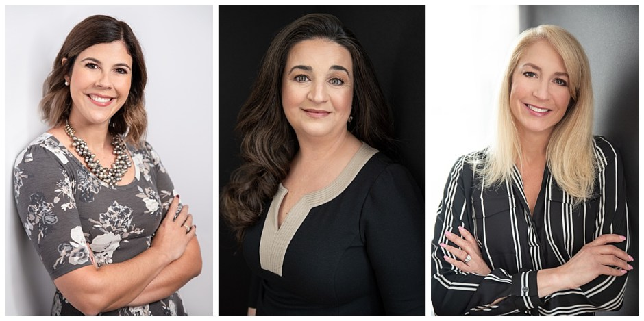 This image shows 3 women's headshots with a variety of backgrounds