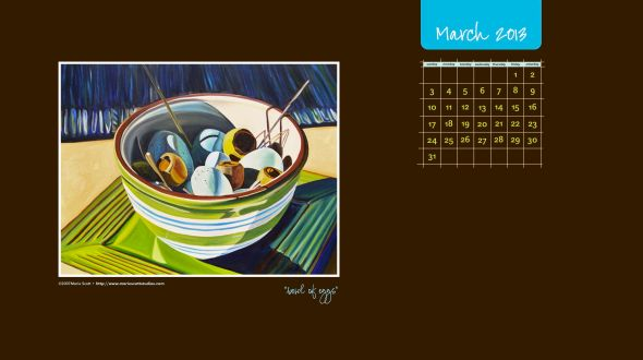 BOWL OF EGGS • 30 inch x 40 inch oil painting • ©2007 Marie Scott