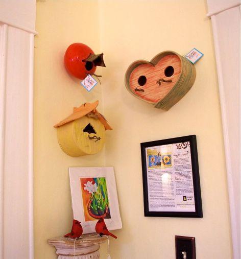 three birdhouses by Gary Huntoon