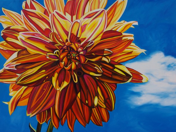 FLYING DAHLIA • 30 inch x 40 inch original oil painting • ©2013 Marie Scott