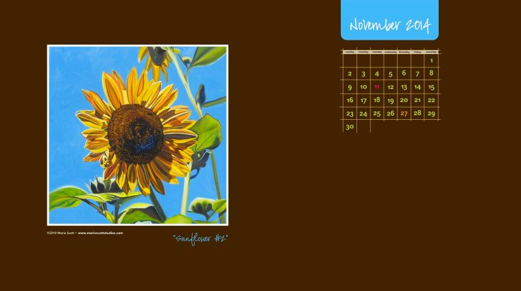 SUNFLOWER #2 • ©2010 Marie Scott (use this as a free desktop calendar for November!)