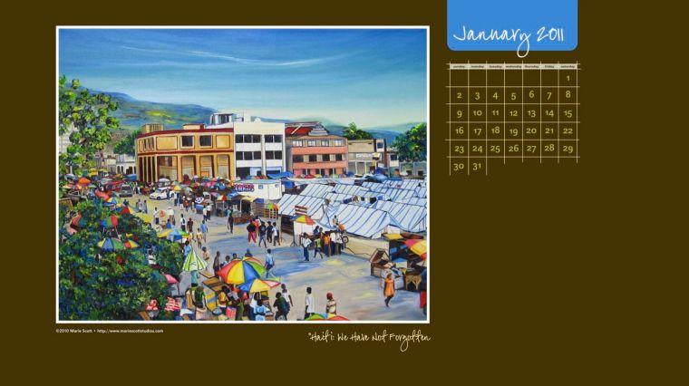 January 2011. My very first desktop calendar.