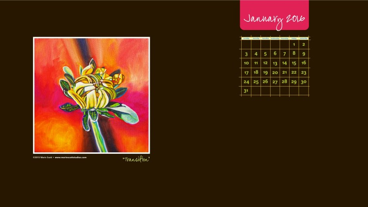 JANUARY 2016 Desktop Calendar