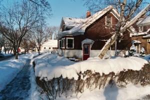 snowy house by park