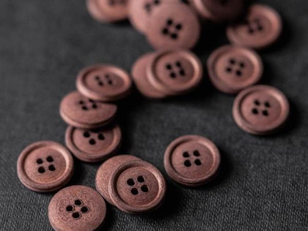 Cotton Button 15mm  | Oxblood