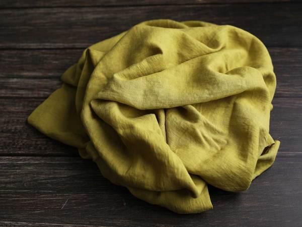 Leinen gewaschen Uni 200 g/m2 | Apfelgrün