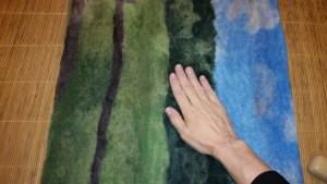 Felting a Picture Landscape & Longhorn Progress Pics by Marie Spaulding, Founder of Living Felt Felting Supplies for free tutorials visit http://feltingsupplies.livingfelt.com