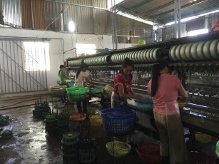 Silk factory workers in Da Lat, Vietnam