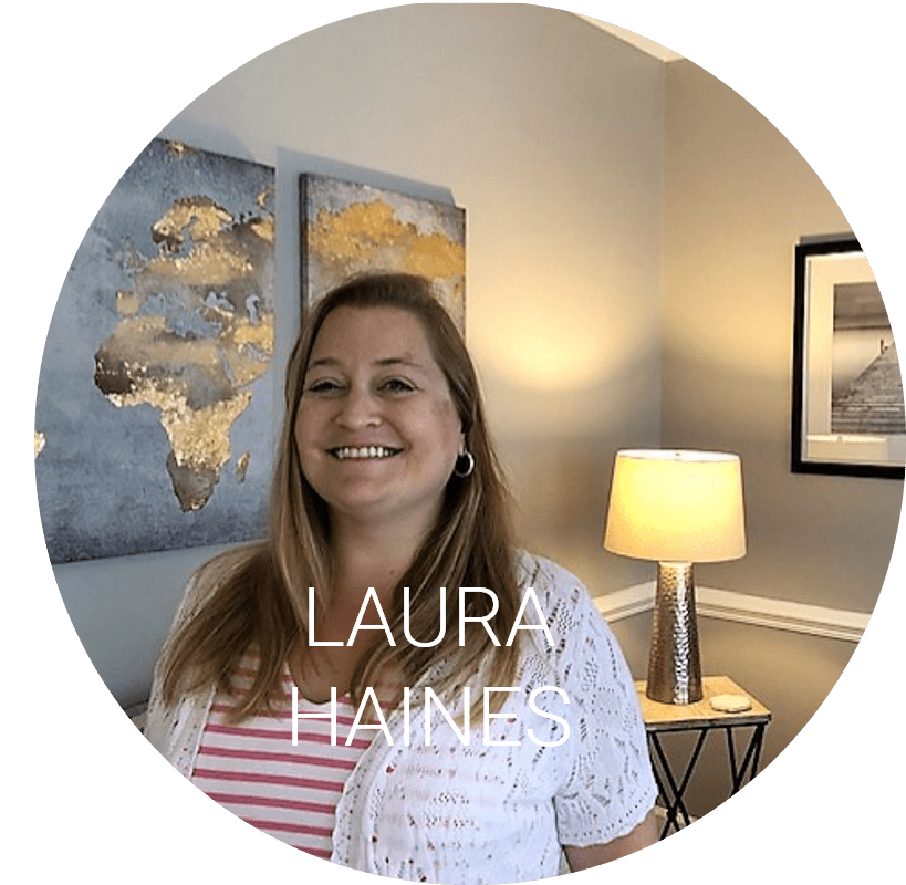 Laura Haines in the office