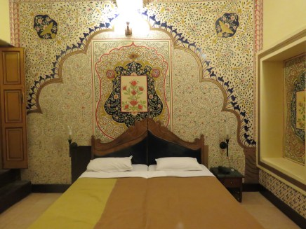 Ornate walls in our Jodpur hotel
