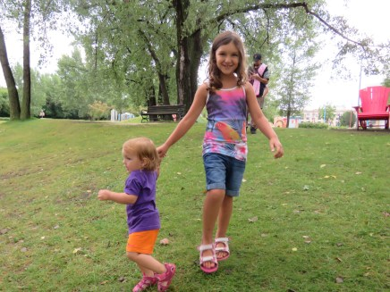 Playing with the girls at the park
