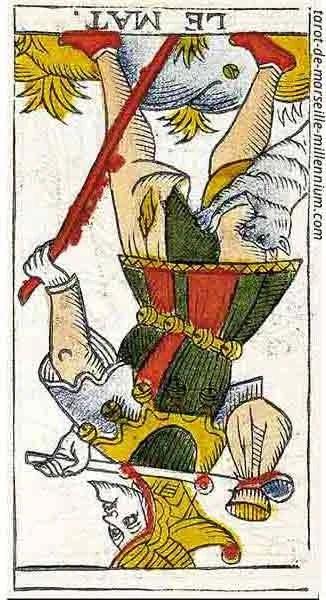 Carta de Tarot de Marsella 0 El Loco invertido en marifranstarot.com
