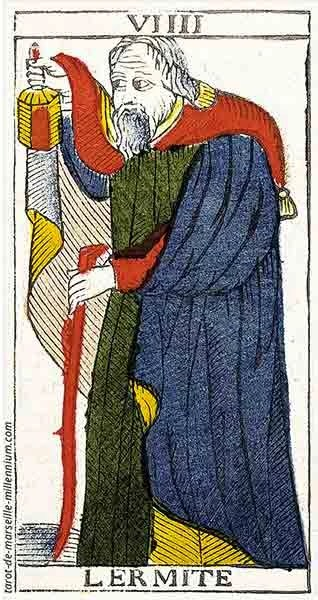Carta de Tarot de Marsella VIIII El Ermitaño en marifranstarot.com