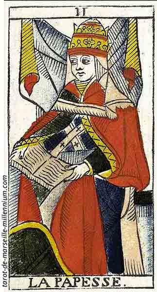 Carta de Tarot de Marsella II La Papisa en marifranstarot.com