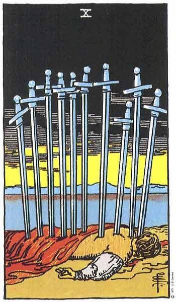 Carta de Tarot de Rider - Waite El Diez de Espadas en marifranstarot.com